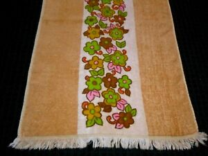 Vtg Cannon Royal Family Cotton Hand Towel Flower Power Gold Green Pink 16x27