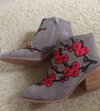 Jeffrey Campbell brown suede cherry blossom embroiderd ankle boots sz 8