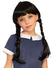 Spooky Little Girl Wednesday Addams Wig Black Braids Child Costume Accessory