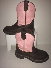 Justin Cowboy Boots Womens Gypsy Pink / Brown Leather Sz 6 B * NICE!