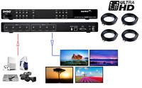 4x4 HDMI Matrix Switcher 4K UHD 3D Splitter/Switcher with 4x 30Ft 4K HDMI Cables