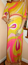 Vintage1960s Mod Era EMILIO PUCCI Saks Fifth Ave Psychedelic Maxidress Size 10