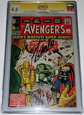 STAN LEE Signed THE AVENGERS Vol 1 Key #1 Sept,1963 CGC 4.5 VG+ SS LARGE AUTO!
