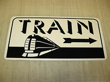 TRAIN ART DECO Metal Sign w/ Arrow Model Train Engine Vintage Style Retro Design