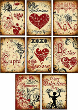 Vintage inspired grunge valentine hearts small note cards set of 8 & envelopes