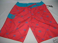 New Mens 36 Quiksilver Board Shorts Long Surf Red Blue $55