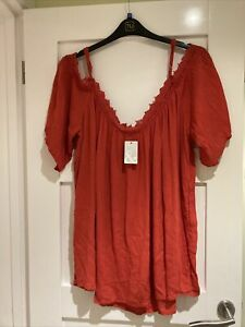 Ladies Red/orange Pep & Co Bardot Top Size 18,20,22 New With Tags
