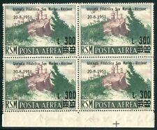 1951 San Marino 300 lire su 500 lire Posta Aerea quartina angolo centrata spl **