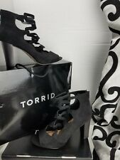 Torrid Women's 10W Wide Width Strappy Cage Stacked Heels Black $54.90 SUMMER