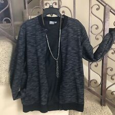 ASOS Black and White COTTON BLEND ZiP Front Jacket Sz Medium (flaw)