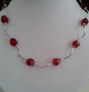 "Riesige 10-20mm facettierte rosa rote Rubin Rondelle Perlen Halskette 18 /"""