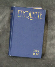 Etiquette Emily Post The Blue Book of Social Usage Hardcover 1928 Vintage