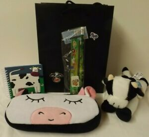 Cow theme gift set - Cow plush pencil case, soft toy, stationery set & notebook