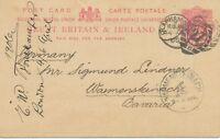 "GB ""CLAPHAM-S.W / 27 / 5"" 1906 EVII 1d postcard with barred Duplex to BAVARIA"