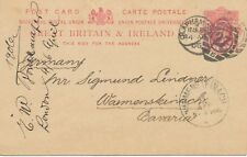 "2427 ""CLAPHAM-S.W / 27 / 5"" 1906 EVII 1d postcard with barred Duplex to BAVARIA"