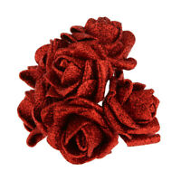 Pack of 12pcs Foam Roses Glitter Powder Flower Bouquet Wedding Decor Red