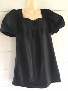 🤍 Shilla   Matte Black Puff Sleeve Dress   Ladies Size 12
