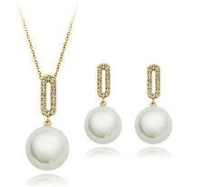 Bridal Jewellery Set White Pearl & Gold Rhinestone Earrings & Necklace S597