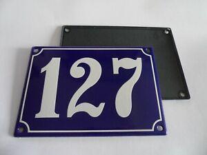 Antique French Blue  Genuine Enamel Porcelain House Door Number Sign / Plate 127