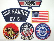 Maverick Top Gun Fancy Dress Iron on Patch - Set of 6 Embroidered badges