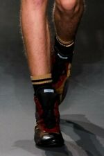 PRADA S/S 2014 RUNWAY Men's Gray Camel Ribbed Cotton Socks UK12/LARGE NWT