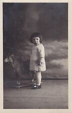 Antique RPPC: Little Girl With Bob Haircut, Unusual Ride On Toy Cow, c1923, Lyon