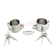 Unisex Oval 4cm High Detachable Wrist Cuffs Stainless Steel Slave Handcuffs New
