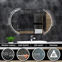 SYDNEY Badspiegel mit LED Beleuchtung Wandspiegel  BLUETOOTH SCHALTER UHR