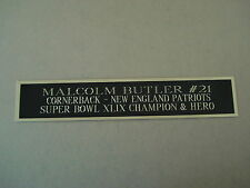 Malcolm Butler Patriots Nameplate For A Football Mini Helmet Case 1.25 X 6