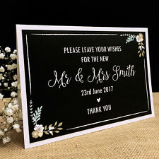 Personalised Floral Chalkboard Style Wedding GUEST BOOK SIGN Wish Tree Card Sign