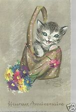 Heureux Anniversaire Cat in bag  flowers 1965? Unposted Postcard