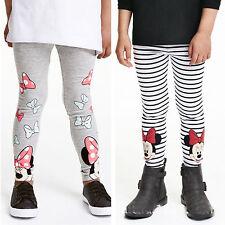 BAMBINI RAGAZZA LEGGINGS MINNIE MOUSE cotone a righe pantaloni lunghi