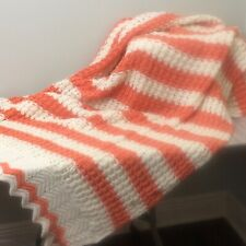 Vintage Crochet Afghan Orange Cream 3D Stripe Handmade Throw 39 x 82 Boho