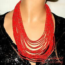 Glass Beads Multi Strand Necklace Vintage Style Tribal Awesome Red Coral