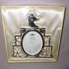 "Wedding Cake Metal Picture Frame 6""  Silver Tone Bride Groom Rings Bells Hearts"