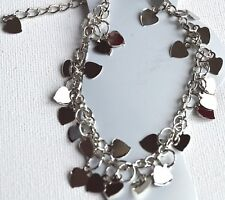 New Silver plated cascading hearts anklet valentines love jewellery