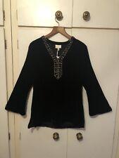 East John Lewis Beautiful Embellished Kaftan Top Size 10 UK Velvet Black