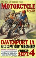 AMA DIRT FLAT TRACK MOTORCYCLE RACERS 12X18 POSTER RACING VINTAGE ART GRAPHICS