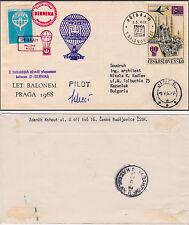 CZECHOSLOVAKIA 1968  BALLOON FLIGHT COVER,genuine used to BULGARIA