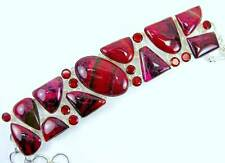 Dyed Deep Burgundy Agate and Red faceted Garnet Circles Sterling Silver Bracelet