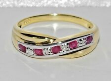 9ct Yellow Gold & Silver Ruby & Diamond Crossover Eternity Ring size N