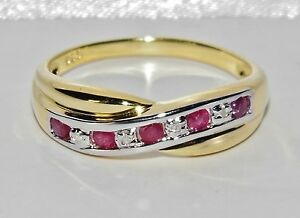 9ct Yellow Gold & Silver Ruby & Diamond Crossover Eternity Ring size Q