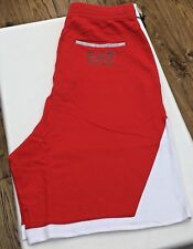 EMPORIO ARMANI EA7 Racing Red/White 100% Cotton Short Pocket Logo Size S-XL BNWT
