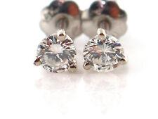 0.42 CT Natural Round Diamond Martini Style Stud Earrings VS2/E 14K White Gold