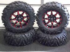 "27"" QUADKING 14"" HD6 RED ATV TIRE & WHEEL KIT LIFE WARRANTY IRS1CA BIGGHORN"