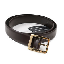 $450 ERMENEGILDO ZEGNA Dark Brown Calf Leather Belt with Gold Buckle 34