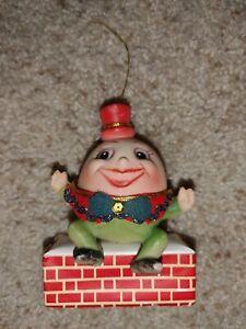"""Vintage Mid Century Christmas Humpty Dumpty Plastic Tree Ornament 4.5"""""""