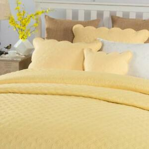 Tache Diamond Matelasse Scalloped Yellow Buttercup Puffs Quilted Pillow Shams