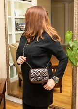 VERIFIED Authentic Chanel Brown Patent Leather Square Mini Flap Crossbody Bag
