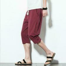 Mens Summer New Chinese Style Linen Cotton Harem Pants Casual Crop Trousers b99